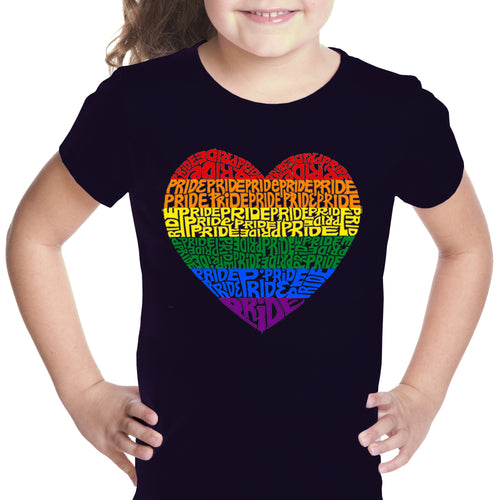 LA Pop Art Girl's Word Art T-shirt - Pride Heart