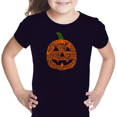 LA Pop Art Girl's Word Art T-shirt - Pumpkin