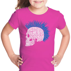 LA Pop Art Girl's Word Art T-shirt - Punk Mohawk