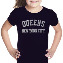 Load image into Gallery viewer, LA Pop Art Girl's Word Art T-shirt - POPULAR NEIGHBORHOODS IN QUEENS, NY