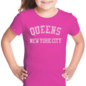 LA Pop Art Girl's Word Art T-shirt - POPULAR NEIGHBORHOODS IN QUEENS, NY
