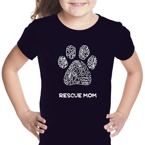 LA Pop Art Girl's Word Art T-shirt - Rescue Mom