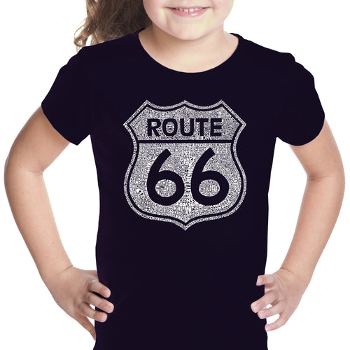 LA Pop Art Girl's Word Art T-shirt - CITIES ALONG THE LEGENDARY ROUTE 66