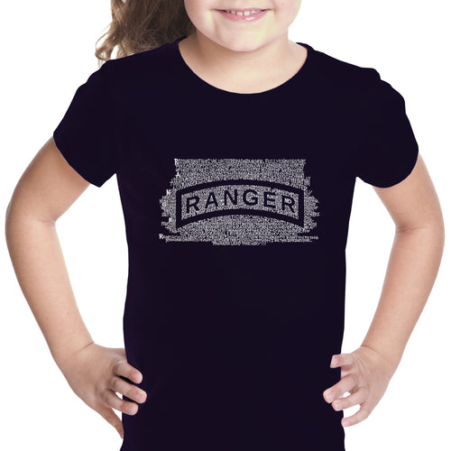 LA Pop Art Girl's Word Art T-shirt - The US Ranger Creed