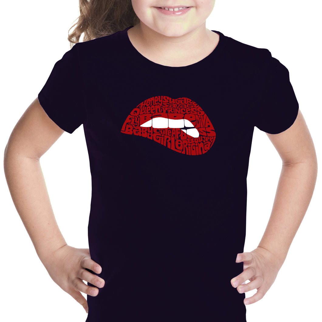 LA Pop Art Girl's Word Art T-shirt - Savage Lips