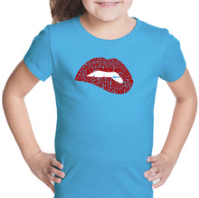 Load image into Gallery viewer, LA Pop Art Girl's Word Art T-shirt - Savage Lips