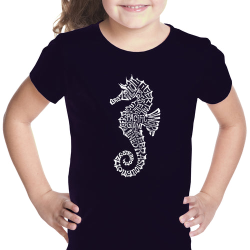LA Pop Art Girl's Word Art T-shirt - Types of Seahorse