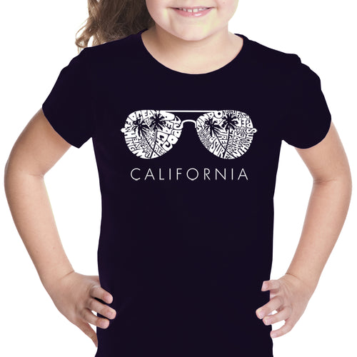 LA Pop Art Girl's Word Art T-shirt - California Shades