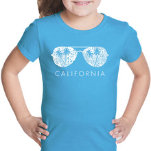 Load image into Gallery viewer, LA Pop Art Girl's Word Art T-shirt - California Shades