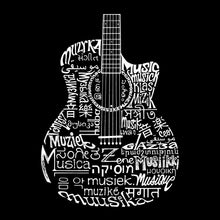 Load image into Gallery viewer, LA Pop Art Men's Word Art T-shirt - Languages Guitar