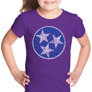 LA Pop Art Girl's Word Art T-shirt - Tennessee Tristar