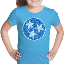 Load image into Gallery viewer, LA Pop Art Girl's Word Art T-shirt - Tennessee Tristar