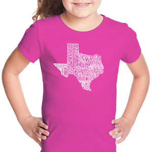 LA Pop Art Girl's Word Art T-shirt - The Great State of Texas