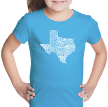 Load image into Gallery viewer, LA Pop Art Girl's Word Art T-shirt - The Great State of Texas