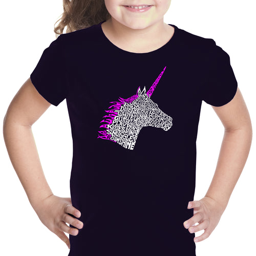 LA Pop Art Girl's Word Art T-shirt - Unicorn