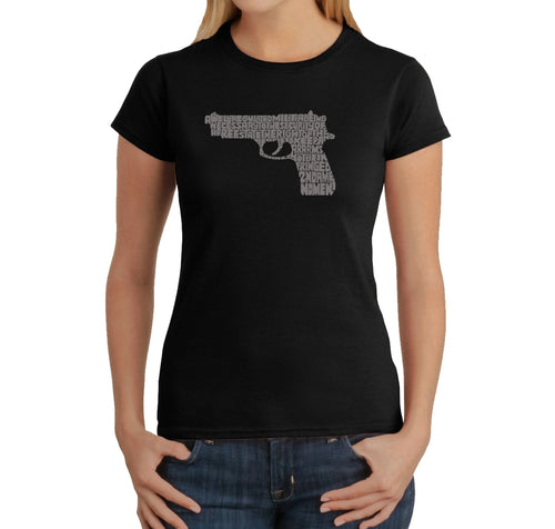 LA Pop Art Women's Word Art T-Shirt - RIGHT TO BEAR ARMS