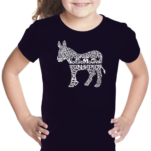 LA Pop Art Girl's Word Art T-shirt - I Vote Democrat