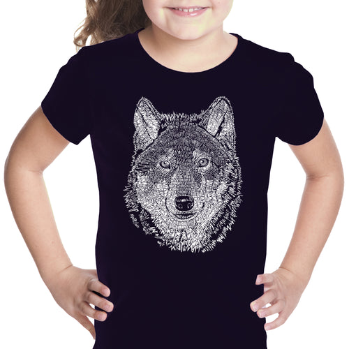 LA Pop Art Girl's Word Art T-shirt - Wolf