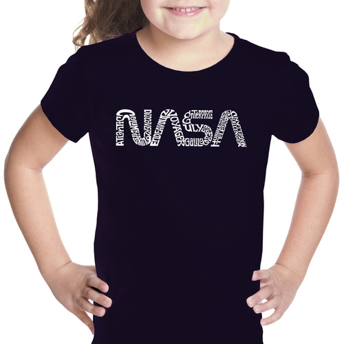 LA Pop Art Girl's Word Art T-shirt - Worm Nasa