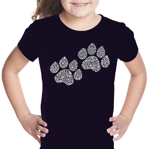 LA Pop Art Girl's Word Art T-shirt - Woof Paw Prints