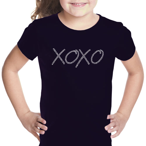 LA Pop Art Girl's Word Art T-shirt - XOXO