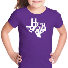 Load image into Gallery viewer, LA Pop Art Girl's Word Art T-shirt - Hey Yall