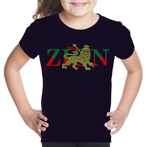 LA Pop Art Girl's Word Art T-shirt - Zion - One Love