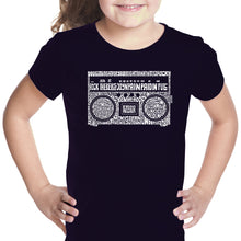 Load image into Gallery viewer, LA Pop Art Girl's Word Art T-shirt - Greatest Rap Hits of The 1980's