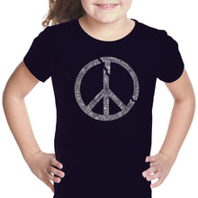 Load image into Gallery viewer, LA Pop Art Girl's Word Art T-shirt - EVERY MAJOR WORLD CONFLICT SINCE 1770