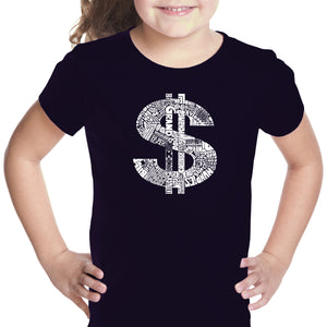LA Pop Art Girl's Word Art T-shirt - Dollar Sign