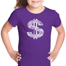 Load image into Gallery viewer, LA Pop Art Girl's Word Art T-shirt - Dollar Sign