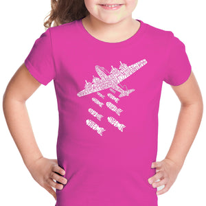 LA Pop Art Girl's Word Art T-shirt - DROP BEATS NOT BOMBS
