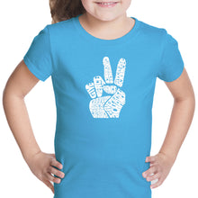 Load image into Gallery viewer, LA Pop Art Girl's Word Art T-shirt - PEACE FINGERS