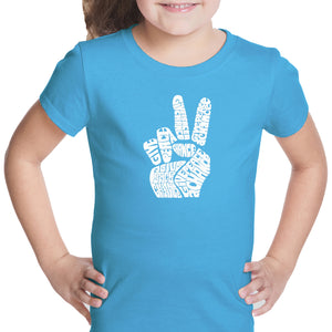 LA Pop Art Girl's Word Art T-shirt - PEACE FINGERS