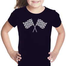 Load image into Gallery viewer, LA Pop Art Girl's Word Art T-shirt - NASCAR NATIONAL SERIES RACE TRACKS