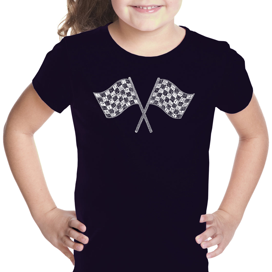LA Pop Art Girl's Word Art T-shirt - NASCAR NATIONAL SERIES RACE TRACKS