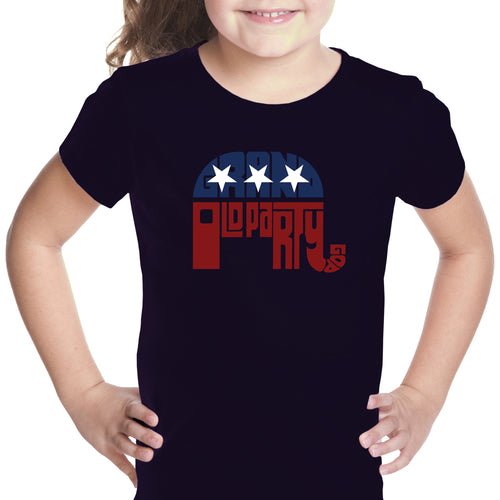 LA Pop Art Girl's Word Art T-shirt - REPUBLICAN - GRAND OLD PARTY