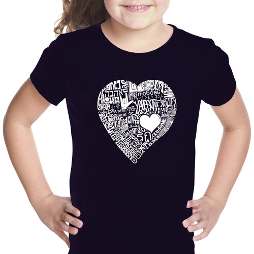 LA Pop Art Girl's Word Art T-shirt - LOVE IN 44 DIFFERENT LANGUAGES