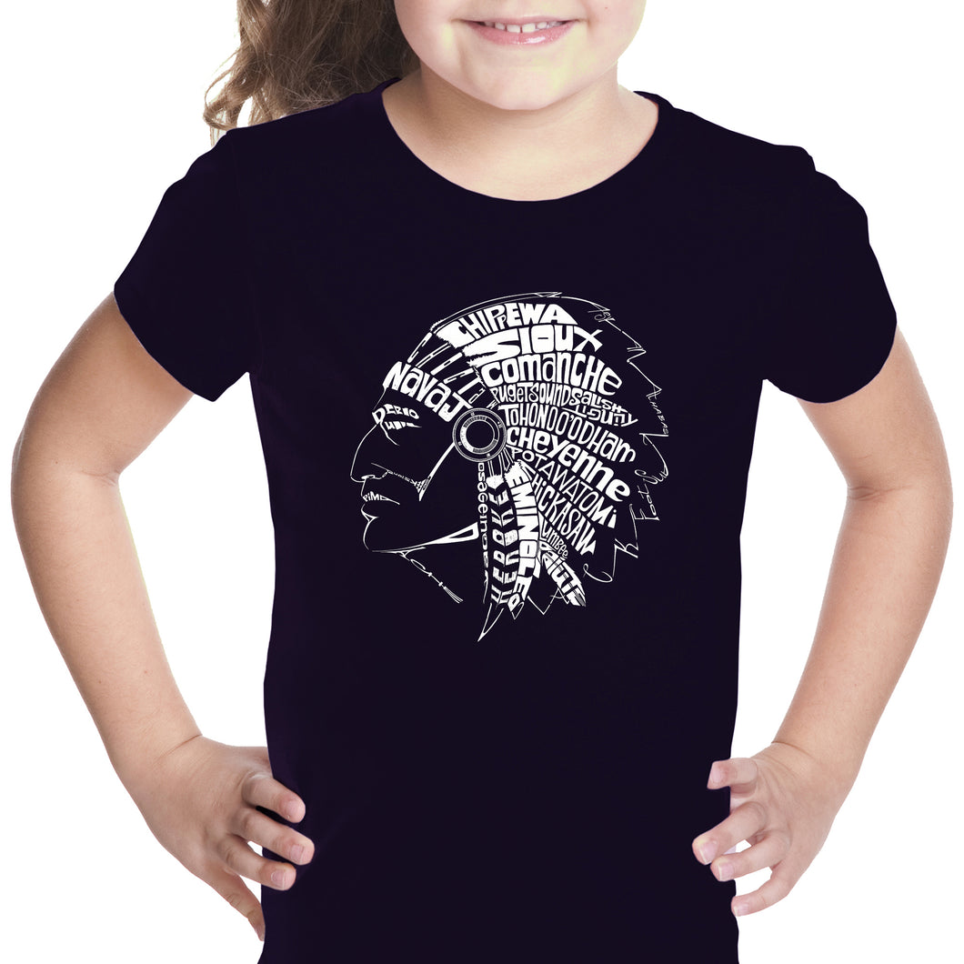 LA Pop Art Girl's Word Art T-shirt - POPULAR NATIVE AMERICAN INDIAN TRIBES