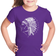 Load image into Gallery viewer, LA Pop Art Girl's Word Art T-shirt - POPULAR NATIVE AMERICAN INDIAN TRIBES