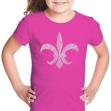 Load image into Gallery viewer, LA Pop Art Girl's Word Art T-shirt - FLEUR DE LIS - POPULAR LOUISIANA CITIES