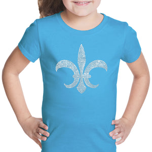 LA Pop Art Girl's Word Art T-shirt - FLEUR DE LIS - POPULAR LOUISIANA CITIES