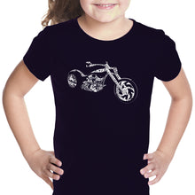 Load image into Gallery viewer, LA Pop Art Girl's Word Art T-shirt - MOTORCYCLE