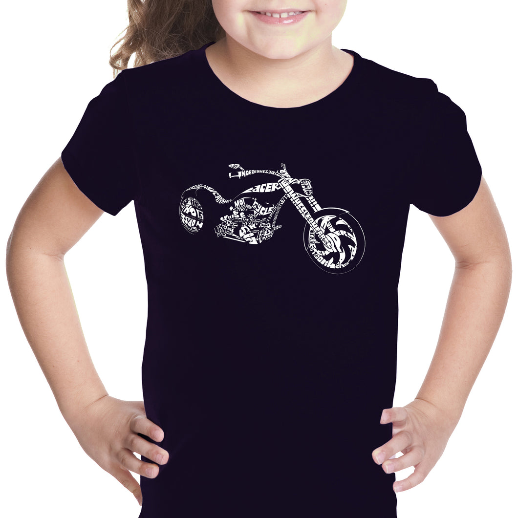LA Pop Art Girl's Word Art T-shirt - MOTORCYCLE