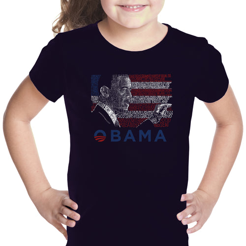 LA Pop Art Girl's Word Art T-shirt - BARACK OBAMA - ALL LYRICS TO AMERICA THE BEAUTIFUL