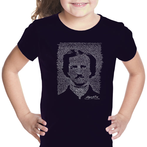 LA Pop Art Girl's Word Art T-shirt - EDGAR ALLEN POE - THE RAVEN