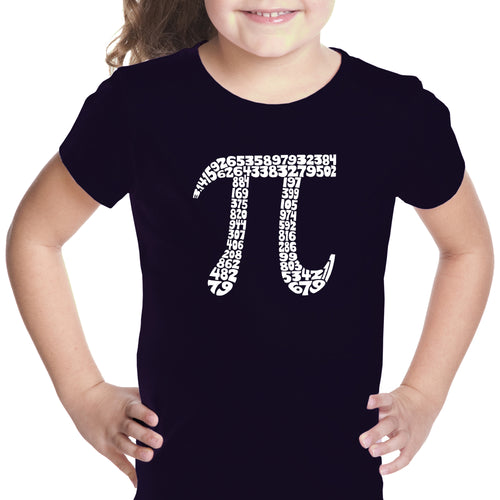 LA Pop Art Girl's Word Art T-shirt - THE FIRST 100 DIGITS OF PI