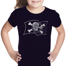 Load image into Gallery viewer, LA Pop Art Girl's Word Art T-shirt - FAMOUS PIRATE CAPTAINS AND SHIPS