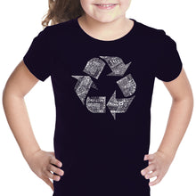 Load image into Gallery viewer, LA Pop Art Girl's Word Art T-shirt - 86 RECYCLABLE PRODUCTS