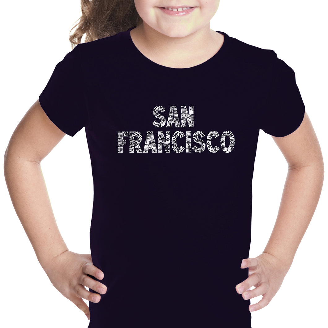 LA Pop Art Girl's Word Art T-shirt - SAN FRANCISCO NEIGHBORHOODS